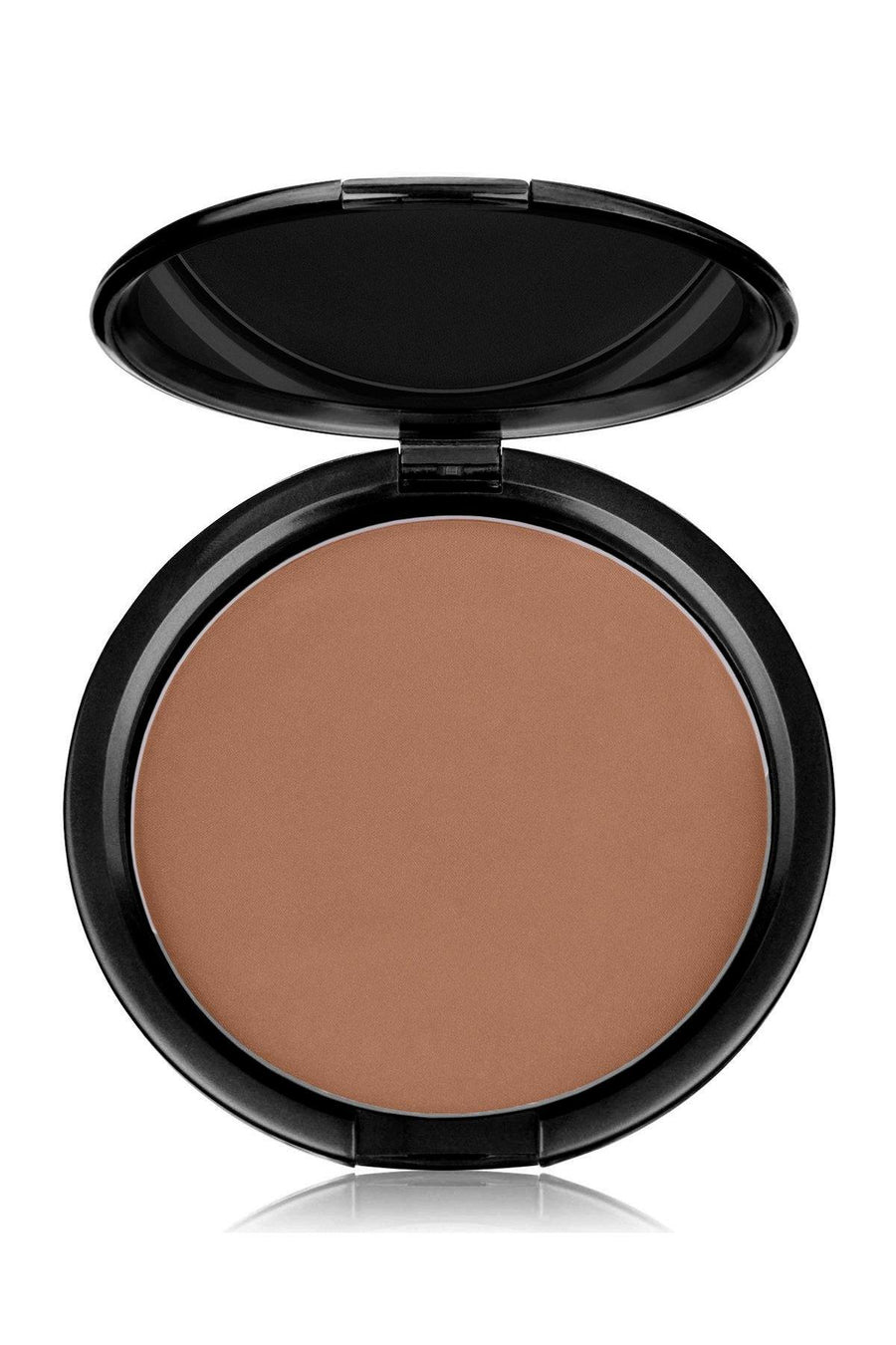 Foundation Brown Tone Medium Mineral Pressed Powder & Brush - Blend Mineral Cosmetics