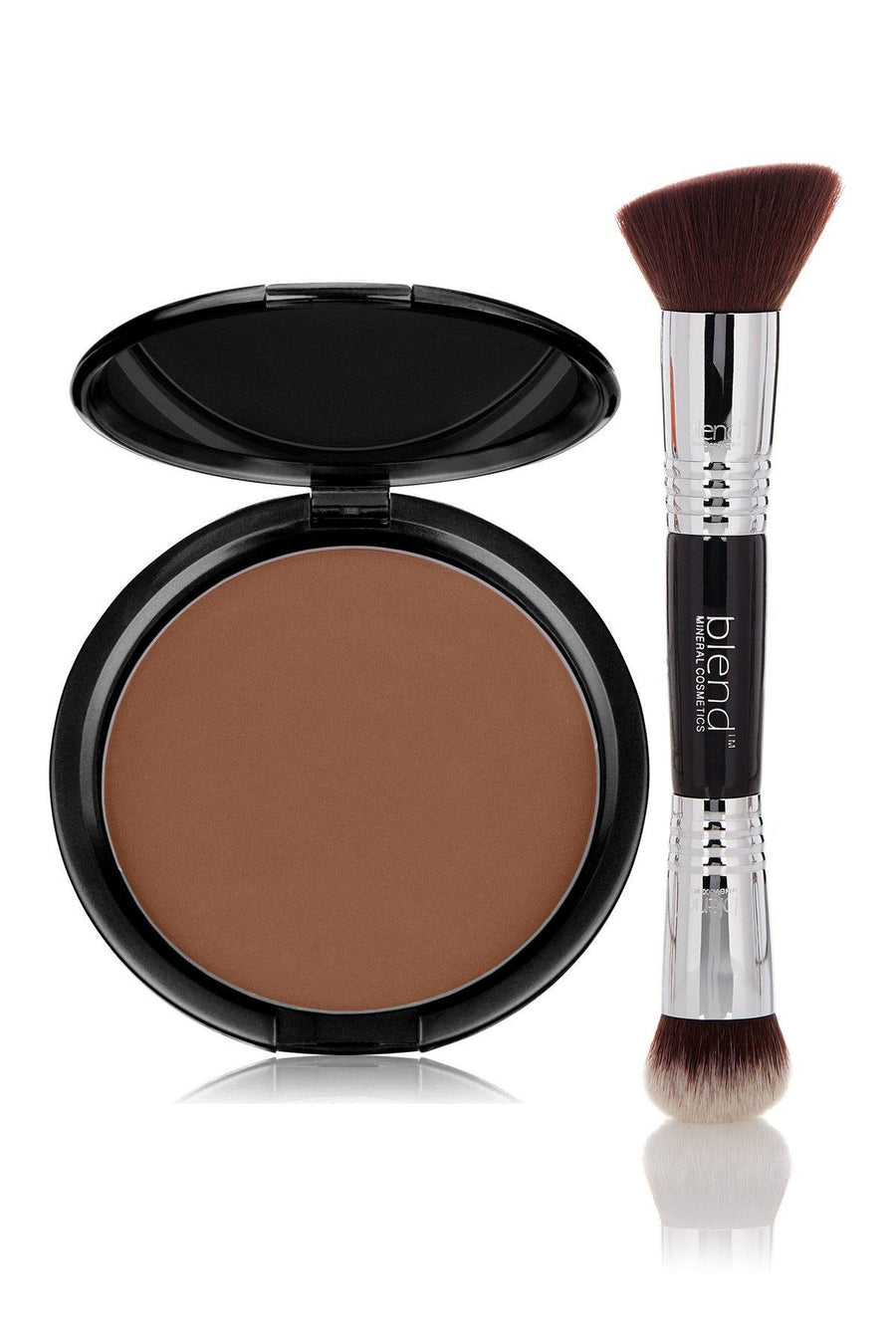 Foundation Brown Tone Dark Mineral Pressed Powder & Brush