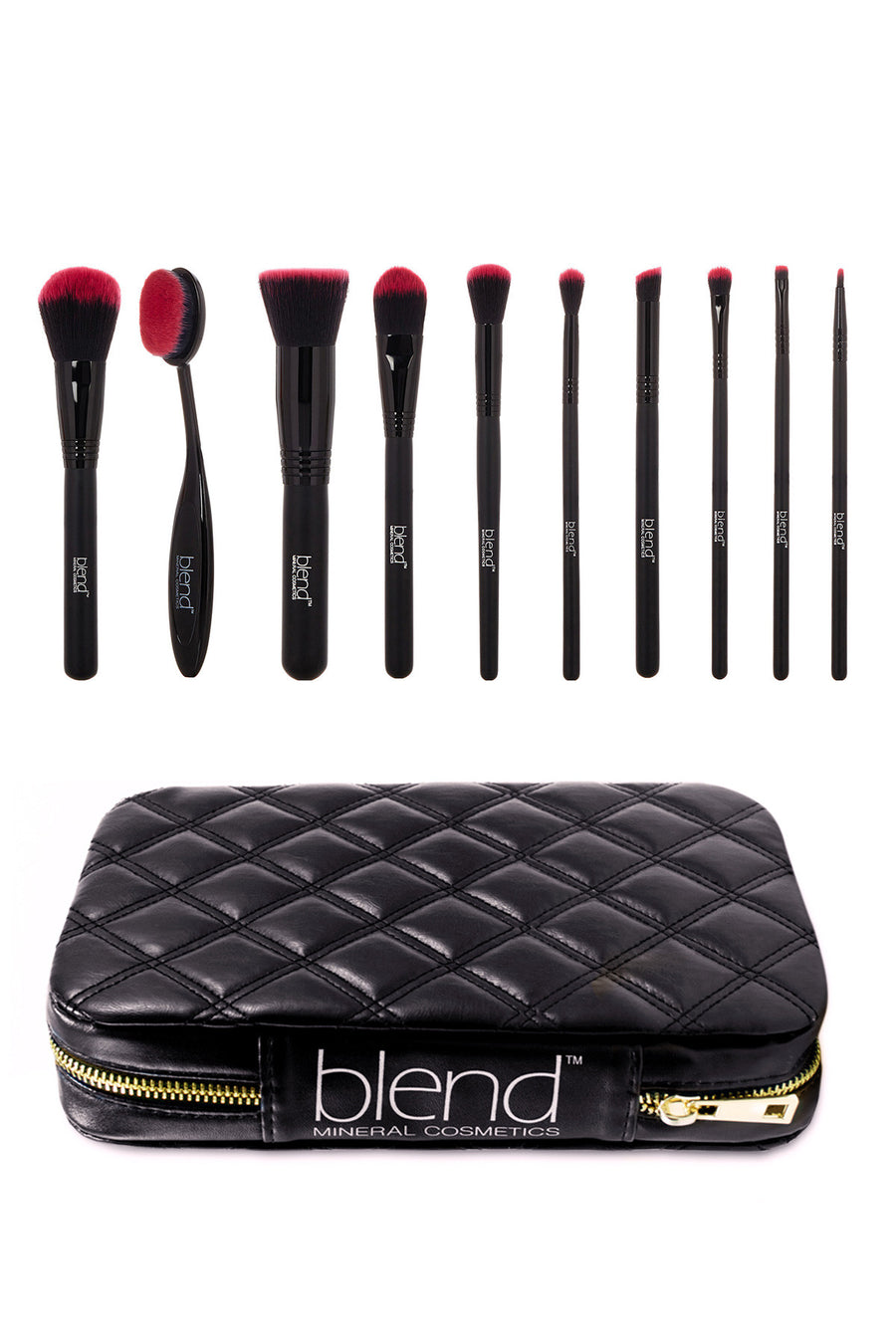 Professional Makeup Artist Complete 11-Piece Brush Kit - Pink - Blend Mineral Cosmetics