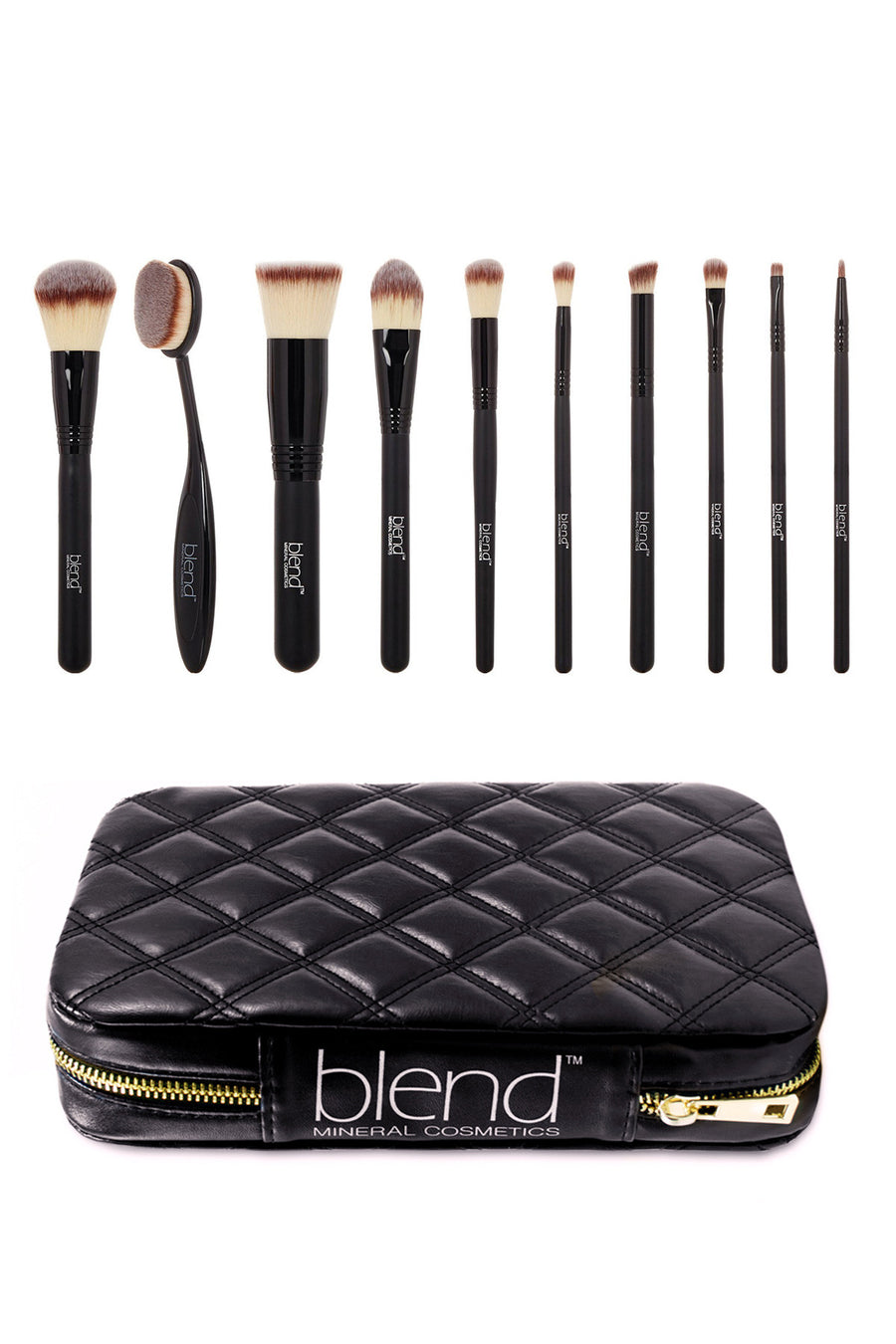Professional Makeup Artist Complete 11-Piece Brush Kit - Mixed Brown - Blend Mineral Cosmetics