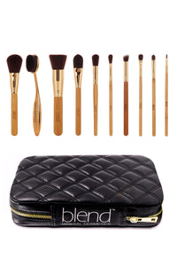 Super Professional Makeup Artist Complete 11-Piece Brush Kit - Bamboo