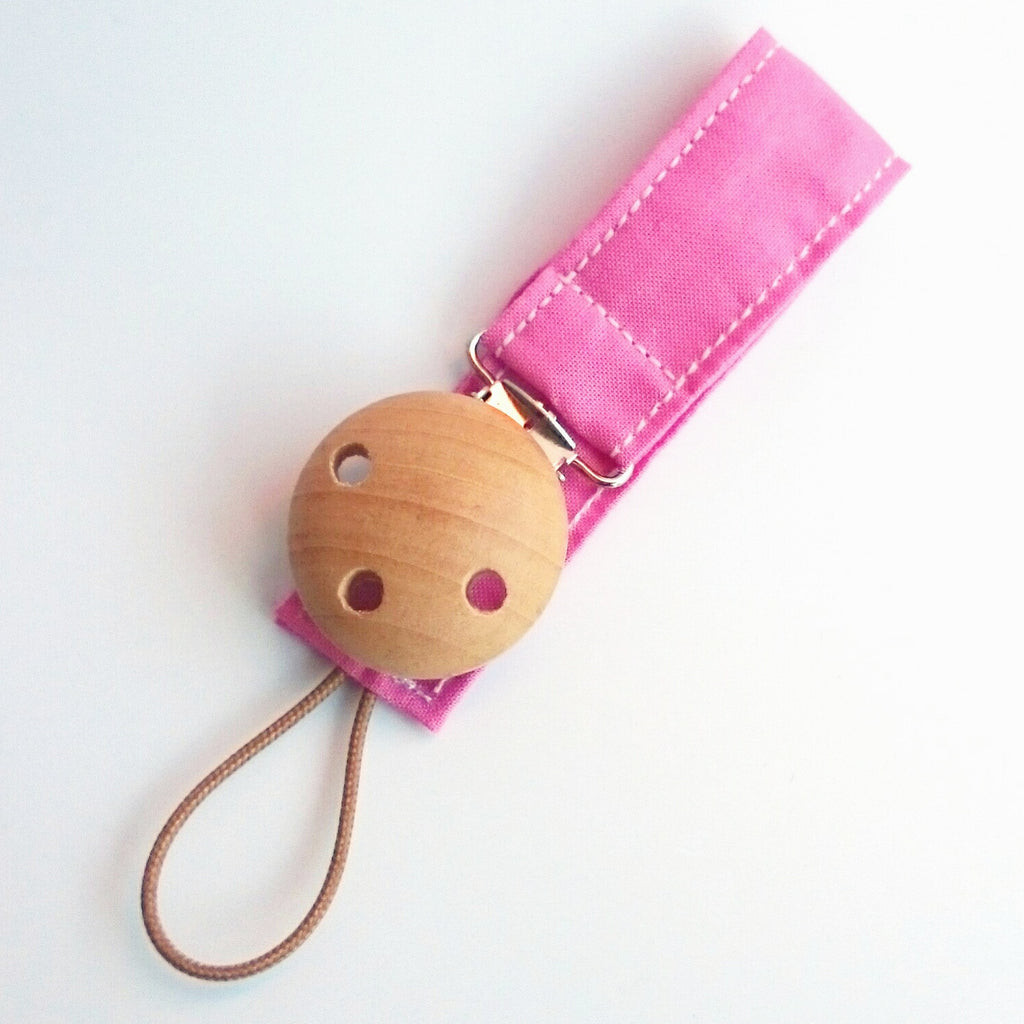 Pink wooden baby Pacifier Clip