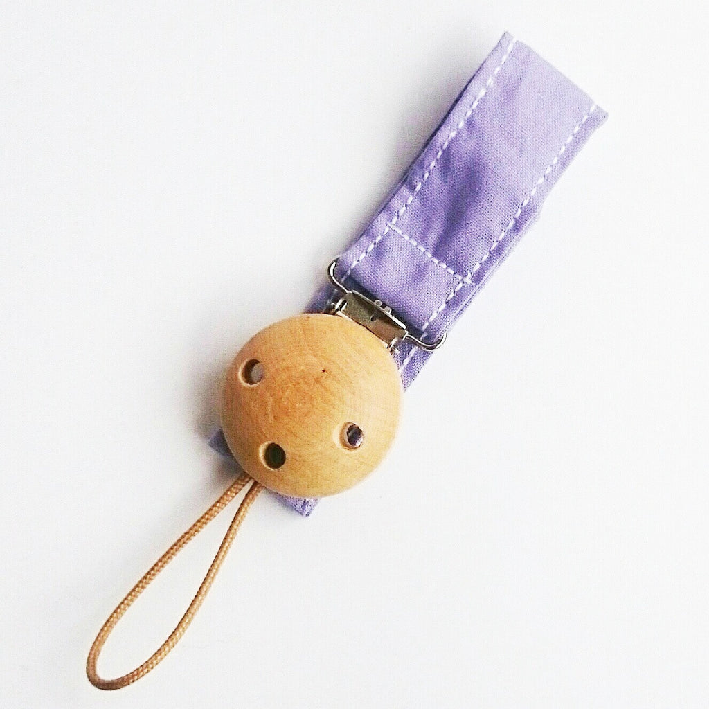 Light purple lilac wooden pacifier clip