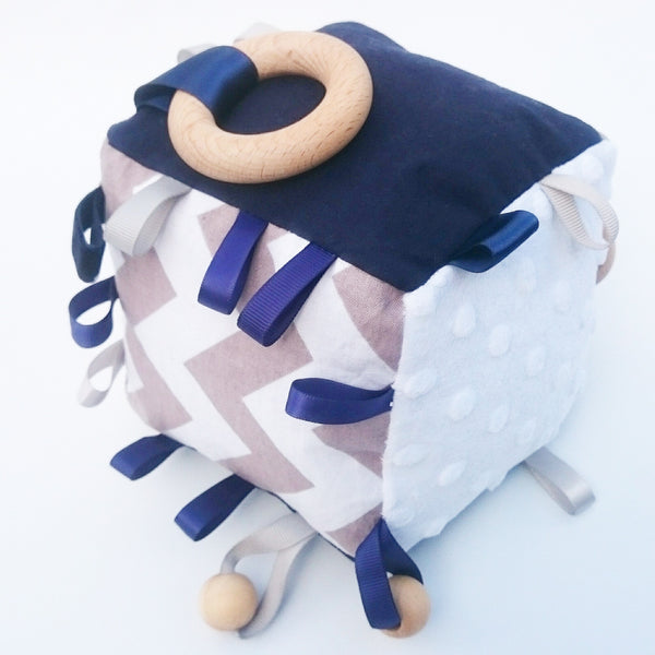 Navy blue and grey educational baby toy cube