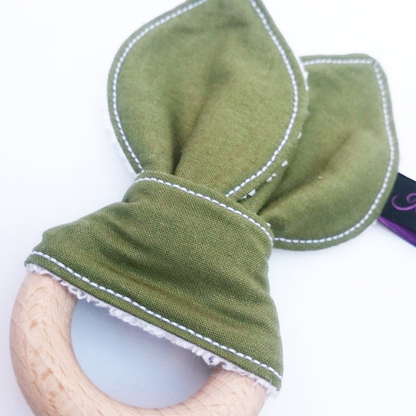 Olive green baby bunny eared teether