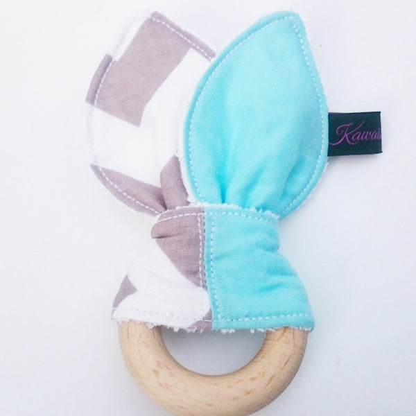 Blue and Grey Zigzag Bunny Ear Teething Toy for Baby