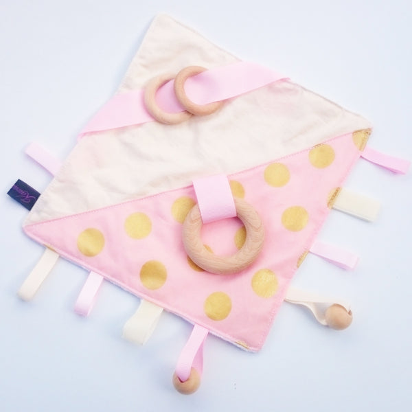 Pink and gold educational cube and sensory blanket toy sey
