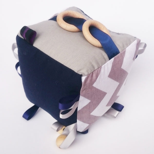 Navy blue and grey chevron baby toy cube