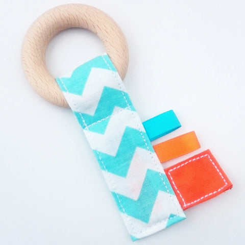 Baby blue and orange chevon zig zag crinkle beech wood teething key baby teether by KawaiiDezigns