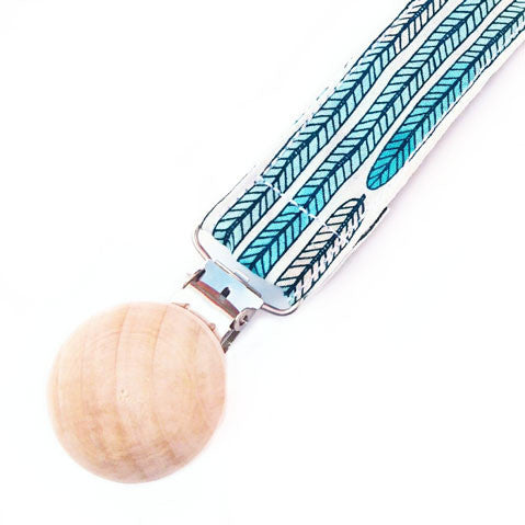 Mint feather indian arrow pacifier clip