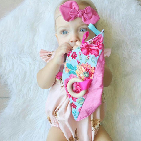 Pink floral flower print sensory toy blanket for baby