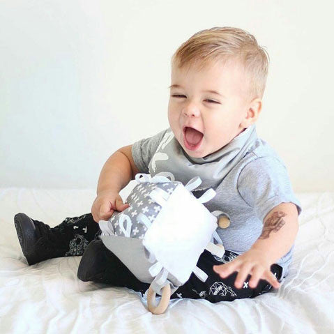 Grey and White Swiss cross baby and toddler cube toy
