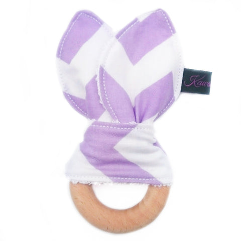 Lilac zig zag natural wooden teether toy for baby