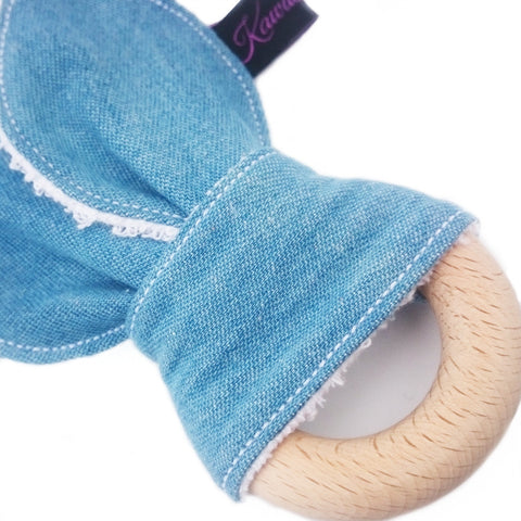 Jean denim bunny eared teether toy for babies