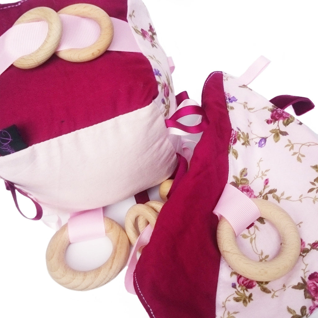 Pink floral and burgundy baby toy gift set