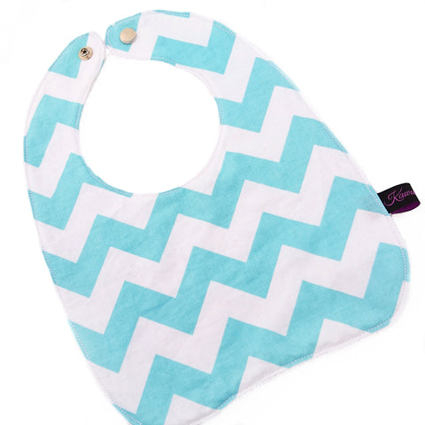 blue zig zag highly absorbent large baby bib