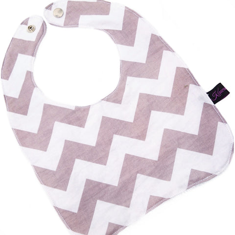 Grey Chevron Round Bib