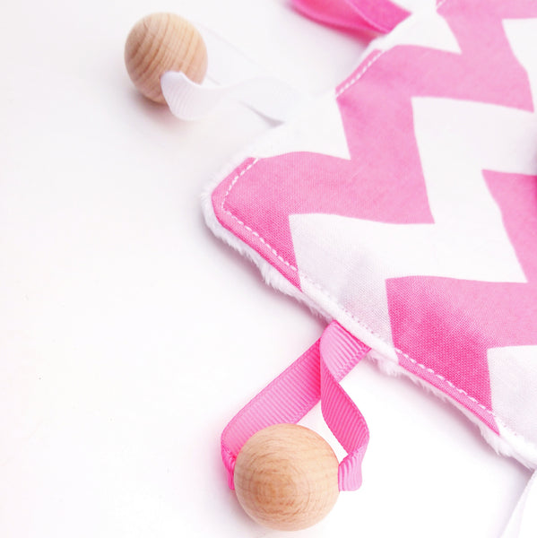 Pink Chevron Sensory tag Blanket for babies