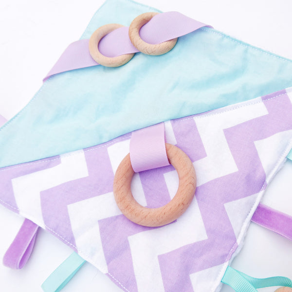 Lilac and Mint Chevron Sensory Blanket educational Toy
