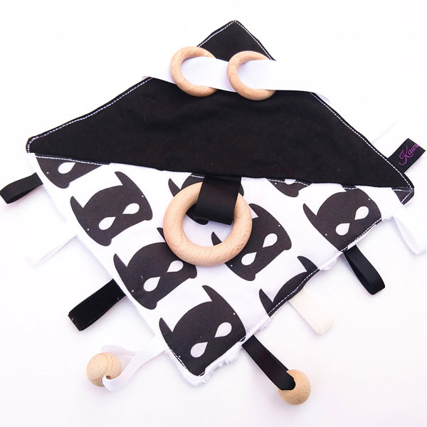 Bat mask Sensory Blanket baby toy in contrasting black and white colours