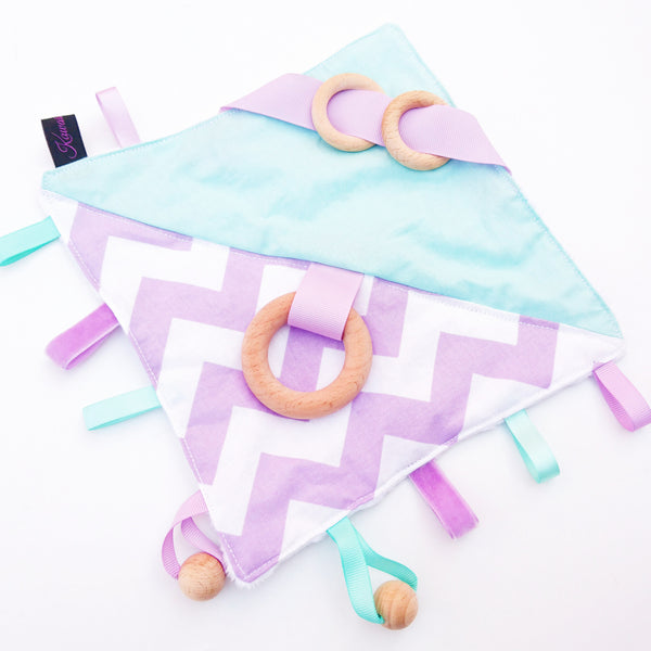 Lilac and Mint Green Chevron Sensory Blanket toy for babies and toddlers
