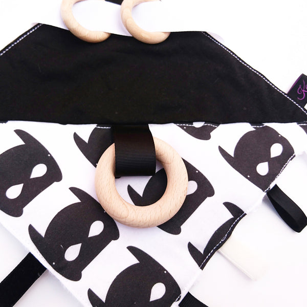 Monochrome Bat mask Sensory Blanket Toy for babies and toddlers