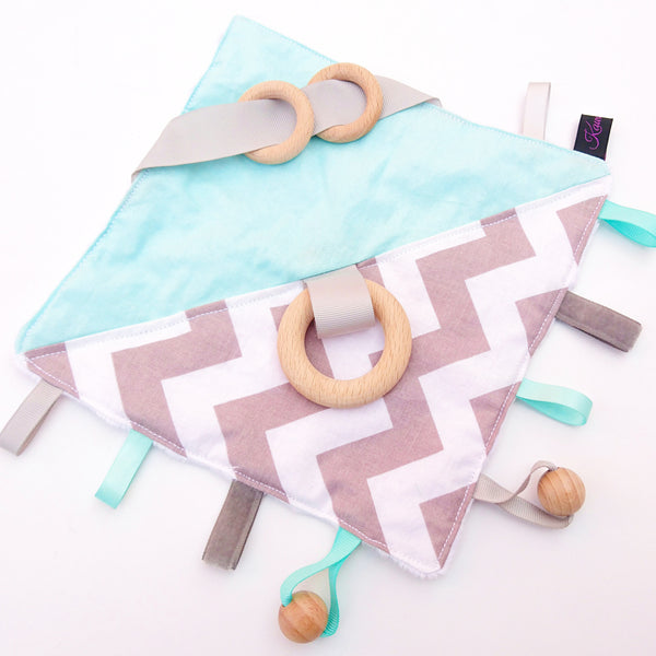 Mint and Grey Zig Zag Sensory Blanket Education Baby Toy