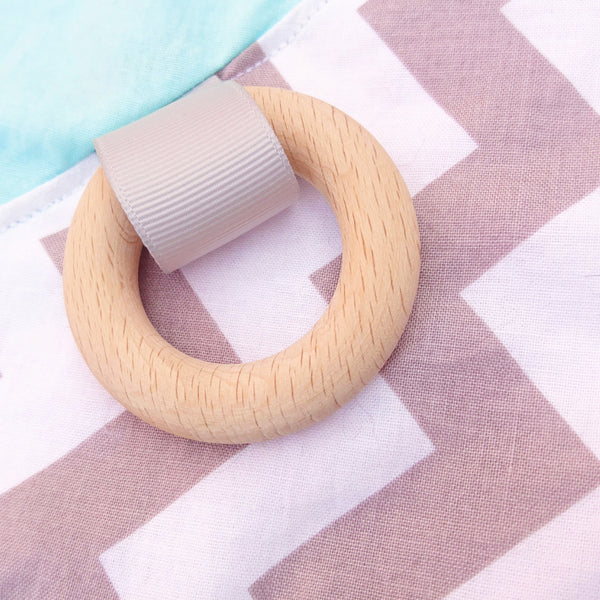 Mint and Grey Sensory blanket education toy with beech wood teething rings
