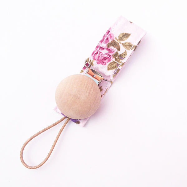 Pink Floral baby Pacifier Clip