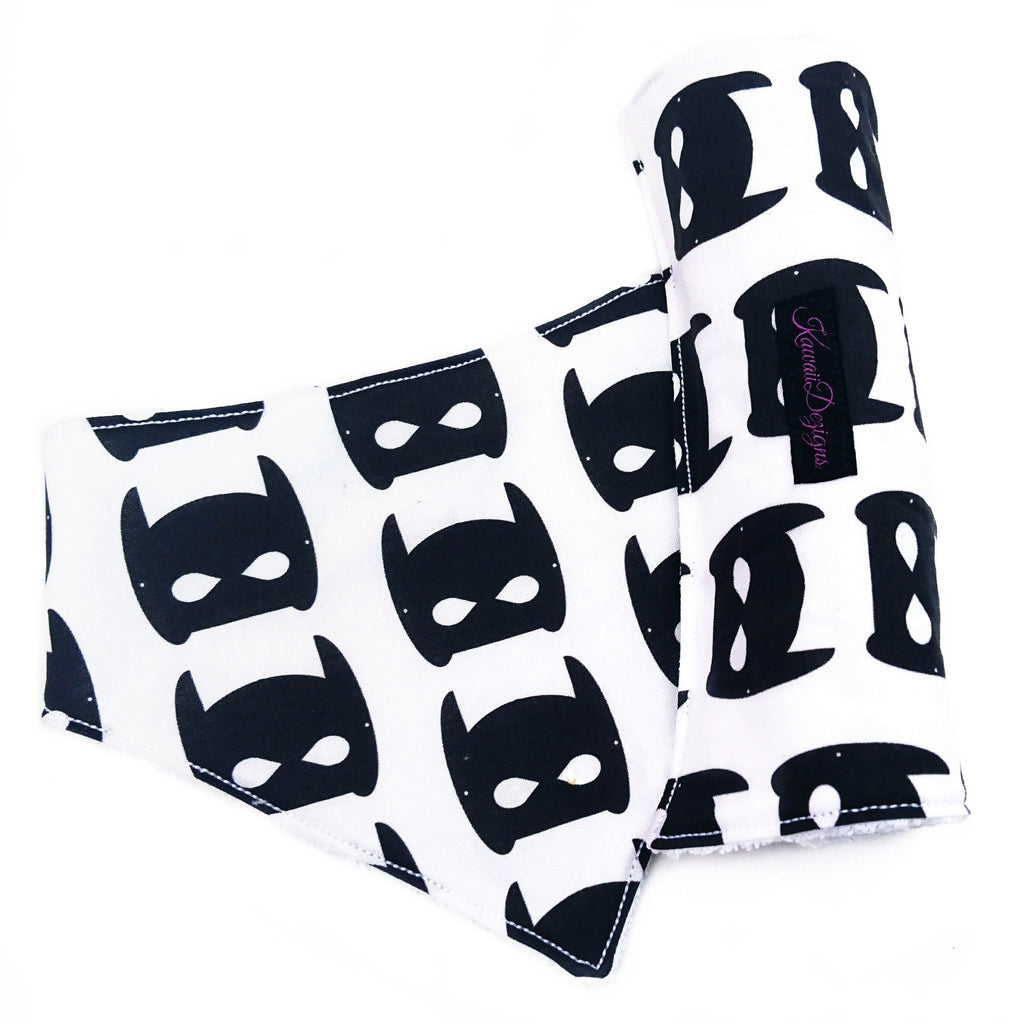 Monochrome black bat mask bib and burp cloth set for baby