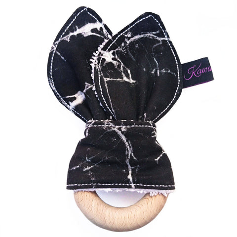 Black marble baby bunny eared teether toy