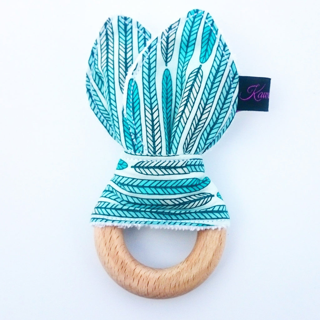 Feather Mint wooden Bunny ear Teether