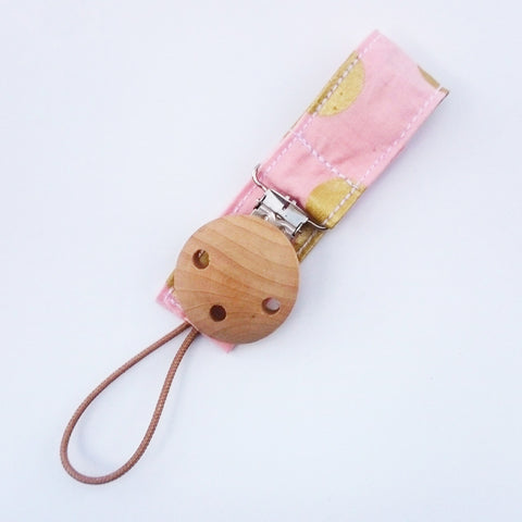 pink and gold polka dot baby pacifier clip