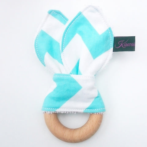 Baby blue chevron zig zag beech wood bunny ear teether toy by KawaiiDezigns