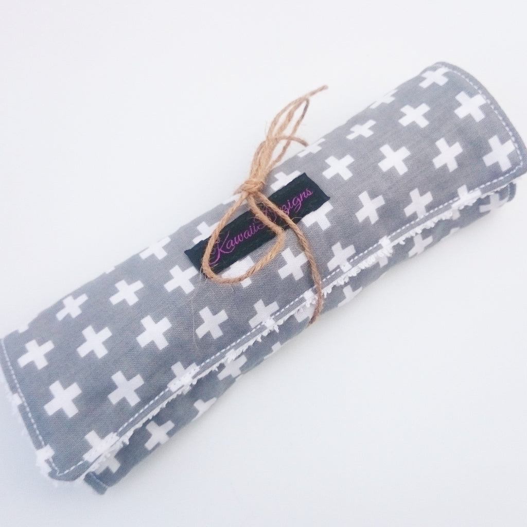 Grey swiss cross cotton baby burping cloths