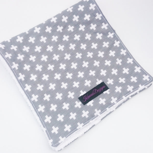 Large baby burp cloths in grey crosses