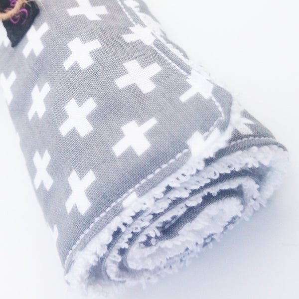 Grey cross baby burp cloths that are extra absorbent