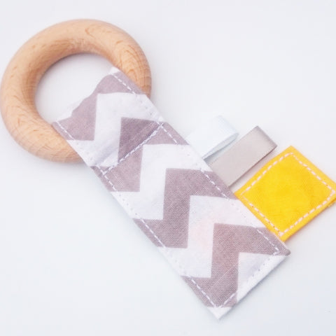 Yellow + Grey Chevron Crinkle Key