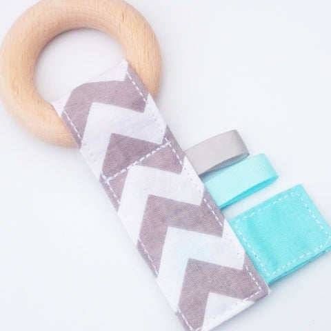 Baby Blue and Grey Chevron Crinkle Key Teether