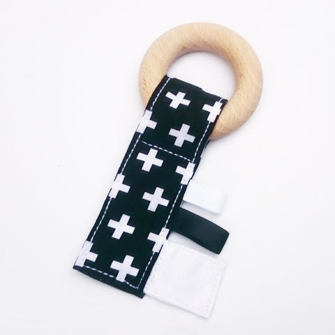 Monochrome swiss cross baby teething key with crinkle material