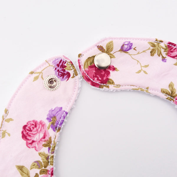 Pink Floral Bib for babies and toddlers with metal closure