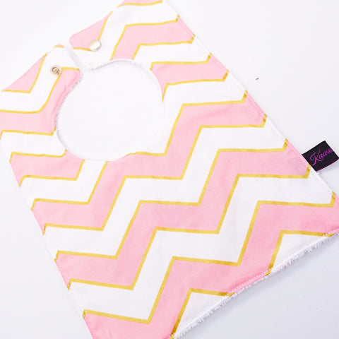 Pink + Gold Chevron Square Bib