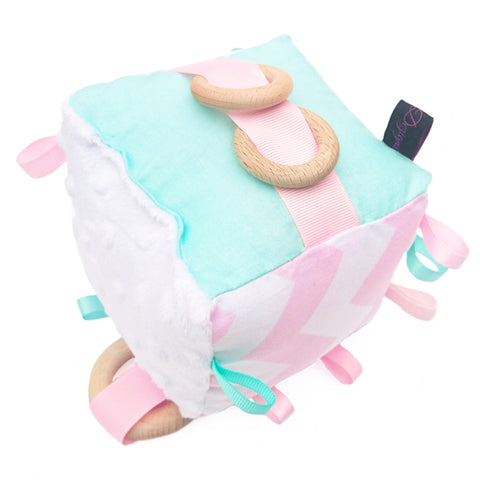 Baby pink and mint green chevron soft cube toy