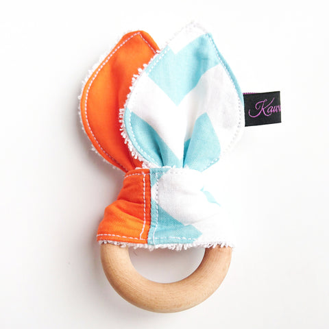 Blue and orange chevron zig zag baby beech wood bunny ear teether by KawaiiDezigns