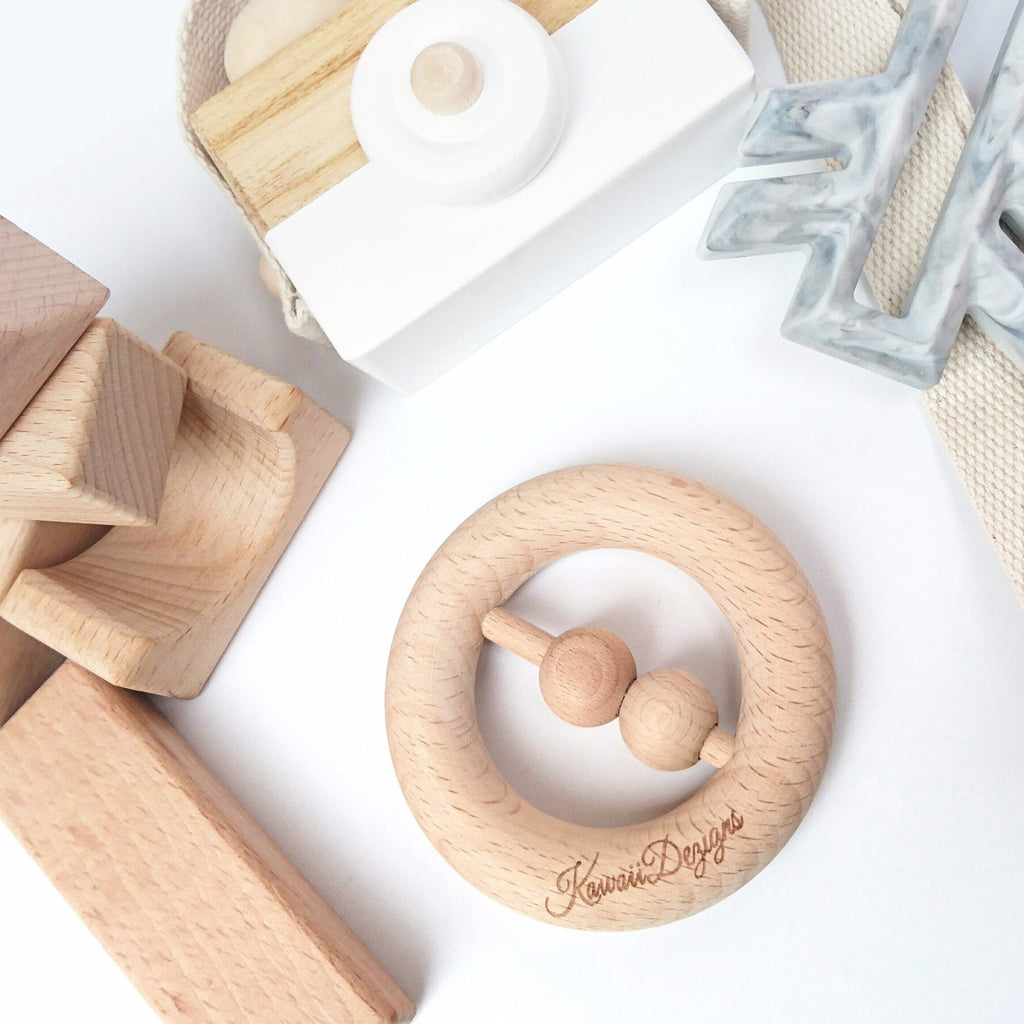 Beech wood Scandi baby teething rattle