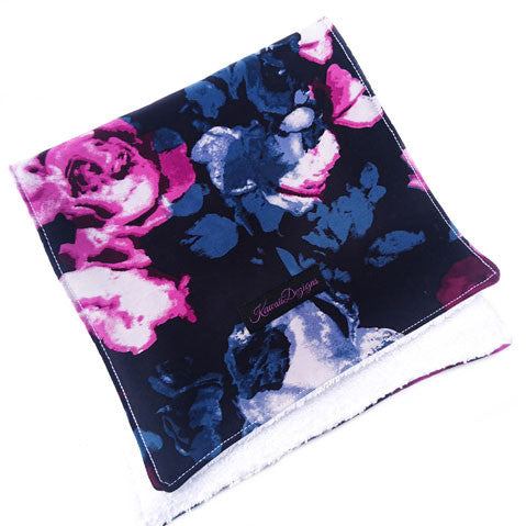 Midnight bloom floral baby burping cloth