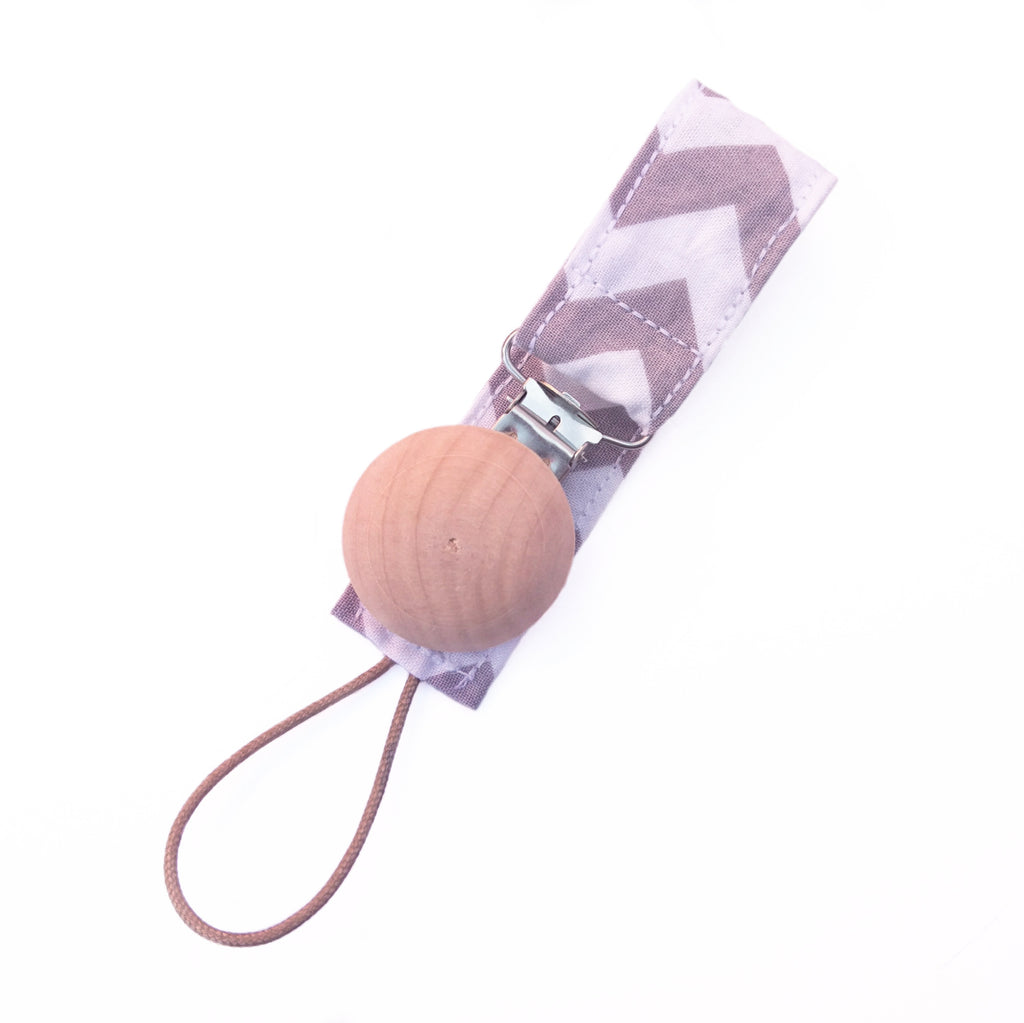 Grey chevron wooden pacifier clip for baby
