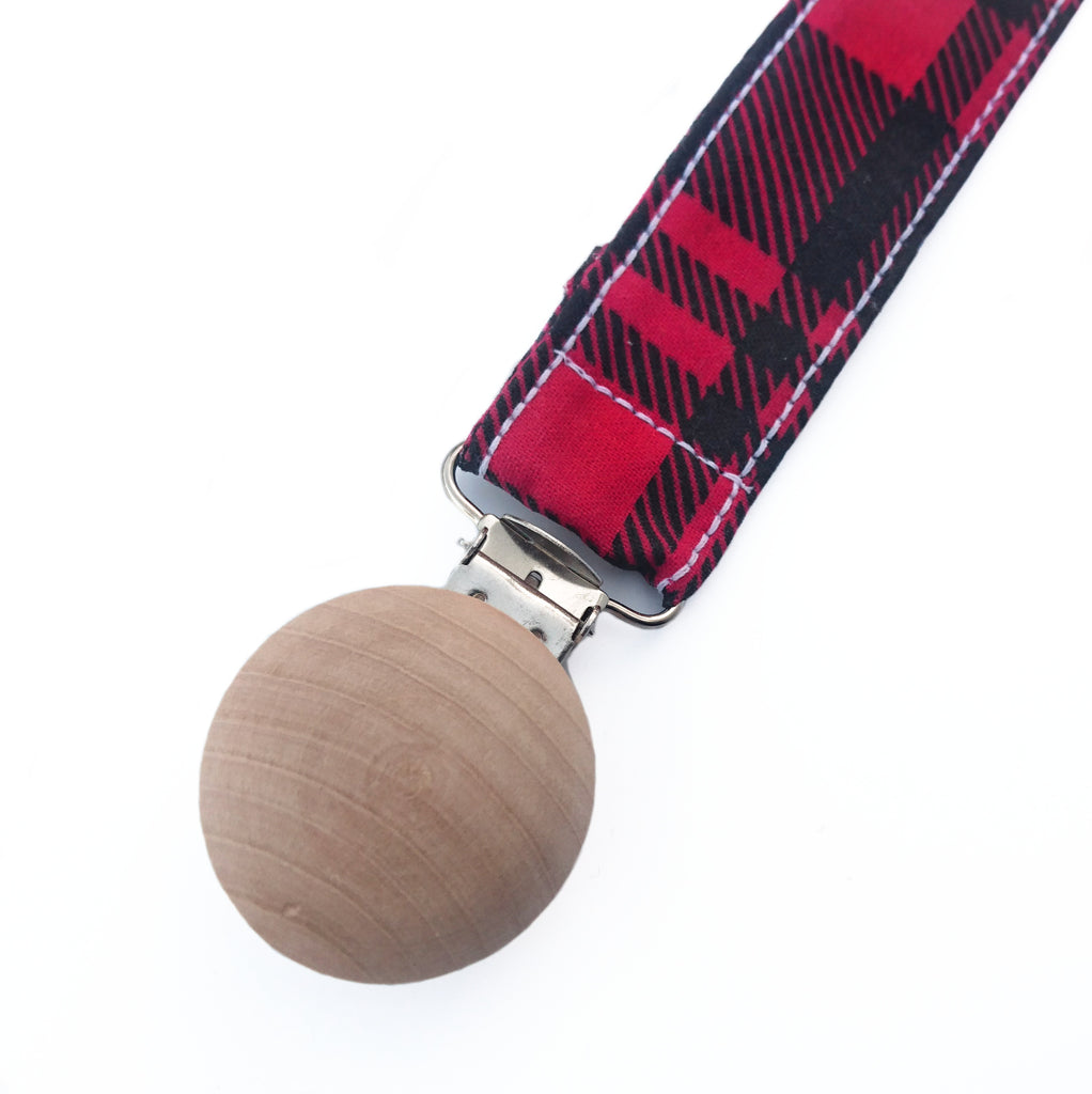 Plaid lumberjack wooden pacifier clip for boys