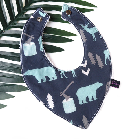 Navy blue and mint woodland inspired bear dribble bib