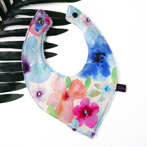 Watercolour floral baby and toddler dribble bib